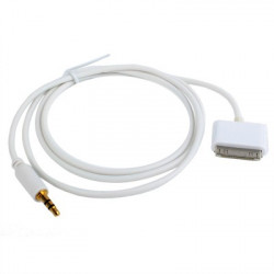 30pin to 3,5 mm Jack KABEL to iPhone 4, Length: 1m (Hvid)