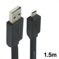 USB 2,0 AM to Micro 5pin Data Transfer Cable, Length: 1,5 m (Sort)