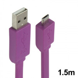 USB 2,0 AM to Micro 5pin Data Transfer Cable, Length: 1,5 m (Lilla)