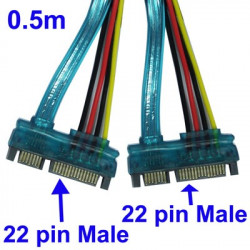 22 Pin Male SATA Cable, Length: 0.5m