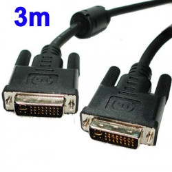 DVI-I Dual Link 24 5 Pin Male to Male Video Cable, Length: 3m