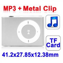 TF (Micro SD) Card Slot MP3-afspiller med Metal Clip (sølv)