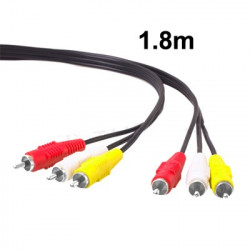 Gud quality Audio Video Stereo RCA AV-kabel, Length: 1,8 m