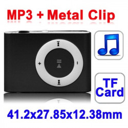 TF (Micro SD) Card Slot MP3-afspiller med Metal Clip (sort)