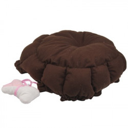 Cute Warm Blöd behagelig hund Cat Bed Style Sleep Tilbehør with Small Pillow (Brun)