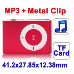 TF (Micro SD) Card Slot MP3-afspiller med Metal Clip (Blå)