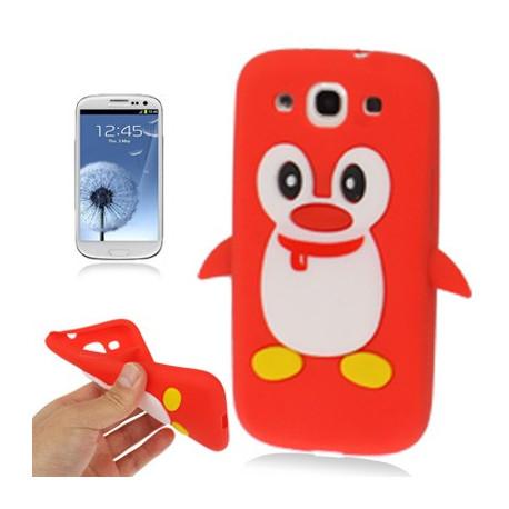 Image of   Silikonehylster til Samsung Galaxy S III / i9300 i nuttet pingvin-design (rød)