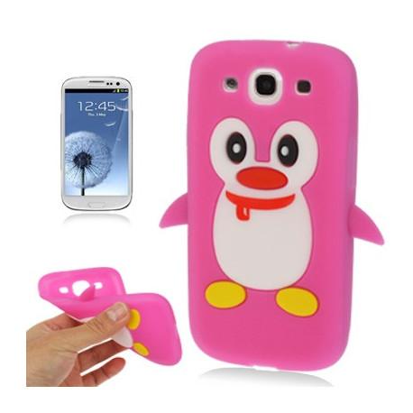 Image of   Silikonehylster til Samsung Galaxy S III / i9300 i nuttet pingvin-design (magenta)