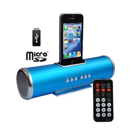 Aluminium dock højttaler med fjernbetjening til iPhone 4, iPhone 3GS/3G, iPhone, support USB Flash Disk, Micro SD-kort (blå)
