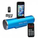 Blå Aluminium dock højttaler med fjernbetjening til iPhoneś & Ipod's - USB Flash Disk, Micro SD-kort
