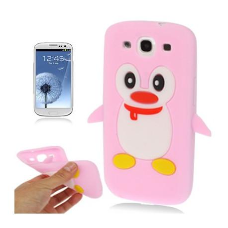 Image of   Silikonehylster til Samsung Galaxy S III / i9300 i nuttet pingvin-design (pink)