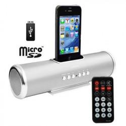 Sølv Aluminium dock højttaler med fjernbetjening til iPhoneś & Ipod's - USB Flash Disk, Micro SD-kort