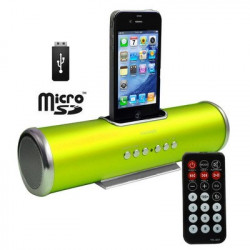 Lime gul Aluminium dock højttaler med fjernbetjening til iPhoneś & Ipod's - USB Flash Disk, Micro SD-kort