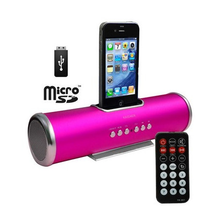 Lyserød Aluminium dock højttaler med fjernbetjening til iPhoneś & Ipod's - USB Flash Disk, Micro SD-kort