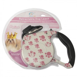 Pink Dog Footprint Mønster Nem betjening Retractable hundesnor