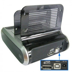Dual 2.5/3.5 tommer SATA HDD Docking Station + USB eSATA Backup with Sim, Smart Card Reader, USB-hub, Wifi
