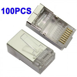 High Quality RJ45 skærmet StiK Cat5 8P8C Lan Connector Network (100 stk in a Emballage, prize is for 100 stk)