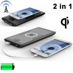 2 i 1 Qi standard Trådløs oplader Transmitter + 6000mAh eksternt batteri / Power Bank til Samsung Galaxy S IV / i9500 / Galax