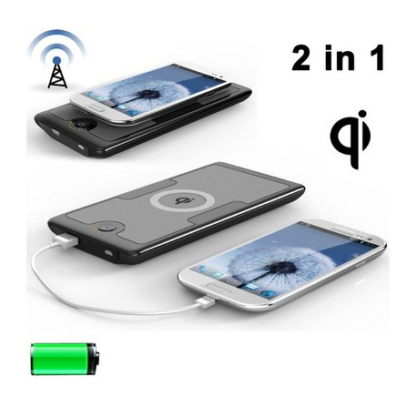 Image of   2 i 1 Qi standard Trådløs oplader Transmitter + 6000mAh eksternt batteri / Power Bank til Samsung Galaxy S IV / i9500 / Galax