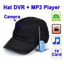 Spion kasket med DVR kamera, mp3 afspiller, bluetooth og fjernbetjening
