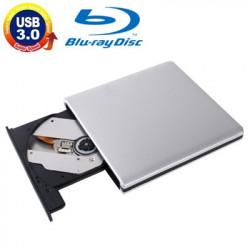 USB 3.0 Aluminum Alloy Bærbar DVD / CD Rewritable Blu-ray-Drev to 12,7 mm SATA ODD / HDD, Plug and Play (Silver)