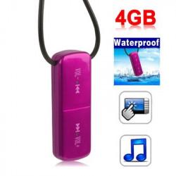 4 GB Vandtæt tryk på knappen MP3-afspiller (Magenta)