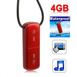 4 GB Vandtæt tryk på knappen MP3-afspiller (RØD)