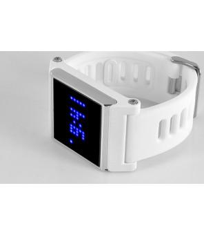 Blå LED Touchskærm armbåndsur - tid, dato, hvid rem
