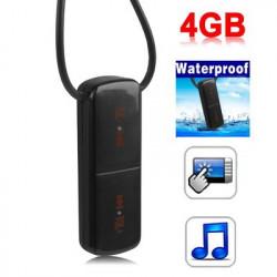 4 GB Vandtæt tryk på knappen MP3-afspiller (Sort)