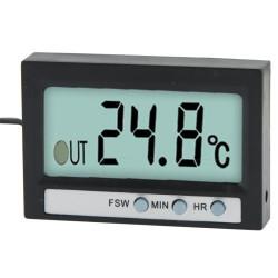 LCD Digital Termometer Med Ur, TM-2 (Sort)