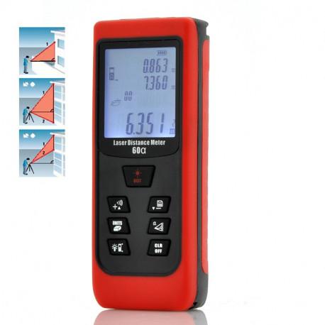 Image of   Håndholdt digitalt Laserafstandsmåler - med vippefunktion, 0,05 til 60 meter