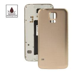 Høj kvalitet plast materiale batteri hus dør dække med vandtæt funktion til Samsung Galaxy S5 / G900 (guld)