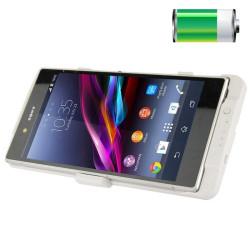 5000mAh Bærbar Ekstern Lithium-polymer Batteri Cover med Holder til Sony Xperia Z (Hvid)