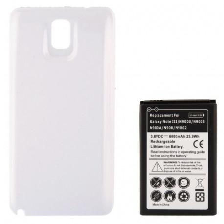 Image of   6800mAh mobiltelefon batteri & Cover Bagklap til Samsung Galaxy Note III / N9000 (Hvid)