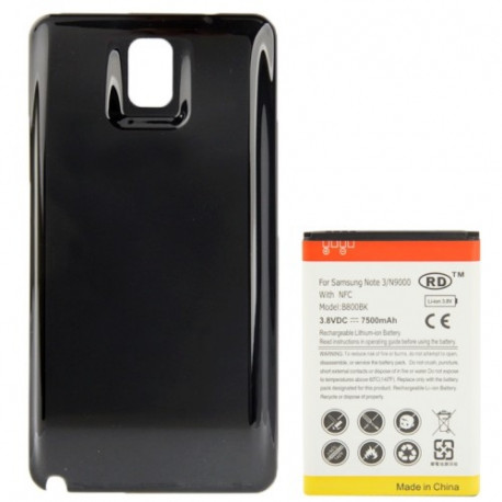 Image of   7500mAh mobiltelefon batteri med NFC & Bagklap Cover til Samsung Galaxy Note III / N9000 (sort)