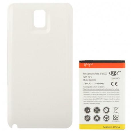 Image of   7500mAh mobiltelefon batteri med NFC & Bagklap Cover til Samsung Galaxy Note III / N9000 (Hvid)