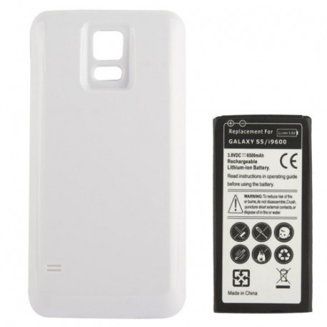 Image of   6500mAh mobiltelefon batteri med Cover Bagklap til Samsung Galaxy S5 / G900 (Hvid)