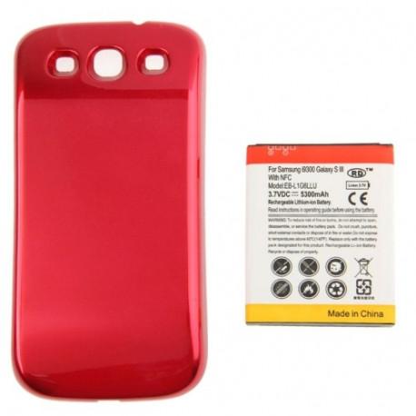 Image of   5300mAh NFC Mobiltelefon Batteri & Cover Bagklap til Sumsung Galaxy S (Rød)