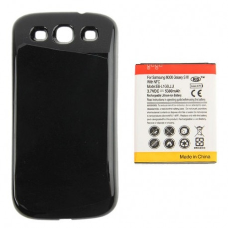 Image of   5300mAh NFC Mobiltelefon Batteri & Cover Bagklap til Sumsung Galaxy S (sort)
