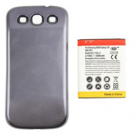 Image of   5300mAh NFC Mobiltelefon Batteri & Cover Bagklap til Sumsung Galaxy S (Grå)