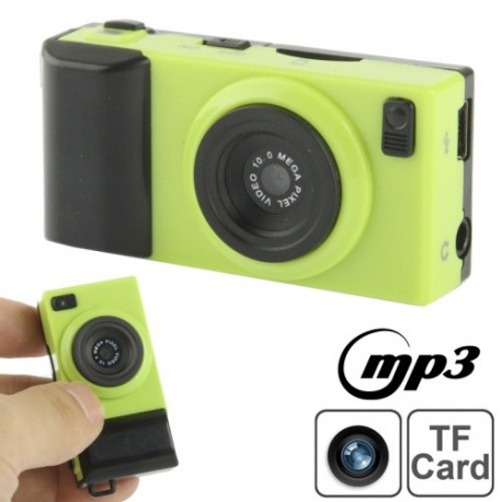 Image of   DV02 Kamera Style Mini DVR / MP3-afspiller, 0,3 megapixel kamera, Support TF-kort (Grøn)