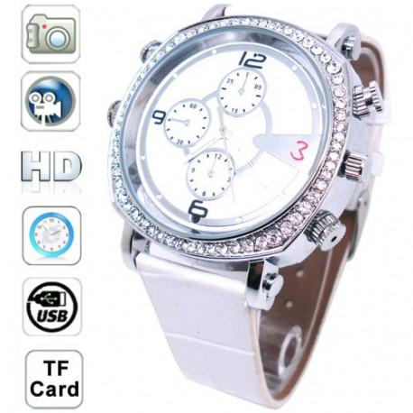 Image of   H300 Hvid, 4032 x 3024 HD-videokamera lydoptagelse, skjult kamera armbånds uret, Intern hukommelse 4GB