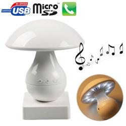 LED champignon Bluetooth 4.0 + EDR højttaler med 3,5 mm lydinterface, Støtte TF Card (hvid)