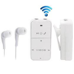 2CH Dual lydudgang bluetooth modtager,hovedtelefoner med mikrofon til iPhone / iPad / Samsung Galaxy / Smartphone, BT-04 (hvid)