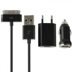 3 i 1 (EU Plug Hjem, biloplader, USB-kabel) rejse Sæt til iPhone 4 & 4S, iPhone 3GS / 3G, iPod Touch (sort)