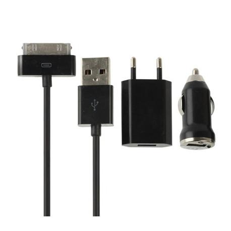 Image of   3 i 1 (oplader, biloplader, USB-kabel) med EU stik - rejse-sæt til iPhone 4 & 4S, iPhone 3GS / 3G, iPod Touch (Sort)
