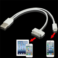 2 i 1 Dual USB oplader, datasynkronisering kabel til iPhone 6 & 6 Plus, iPhone 5 & 5S & 5C, iPad Air, iPhone 4 & 4S (hvid)