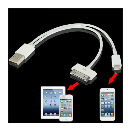 Image of   2 i 1 Dual USB oplader, datasynkronisering kabel til iPhone 6 & 6 Plus, iPhone 5 & 5S & 5C, iPad Air, iPhone 4 & 4S (hvid)