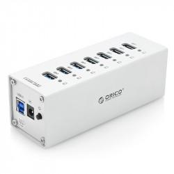 USB 3.0 hub'en Orico A3H7 - 7x Høj hastighed porte,strøm adapteren