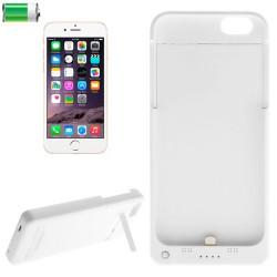 3 i 1 4000mAh genopladeligt ekstern sikkerhedsbatteri / strøm bank aftagelig etui med holder til iPhone 6 (hvid)